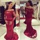 Off The Shoulder Long Sleeve Lace Embellished Mermaid Evening Dress