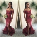 Off The Shoulder Sequin Sheath Mermaid Bridesmaid Dress With Side Slit