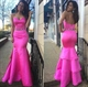 Hot Pink Strapless Beaded Waist Floor Length Cascade Mermaid Prom Gown