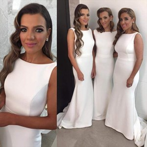Elegant White Sleeveless Satin Floor-Length Mermaid Bridesmaid Dress