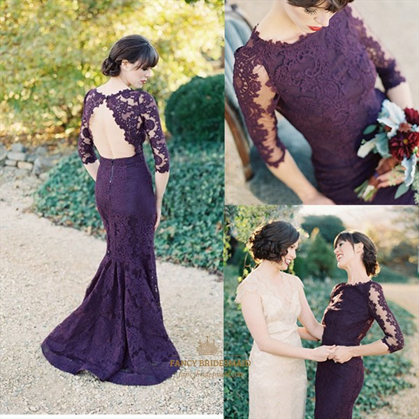 Grape Half-Sleeve Floor Length Lace Mermaid Dress With Keyhole Back