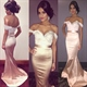 Champagne Off The Shoulder Sweetheart Mermaid Dress With Lace Bodice