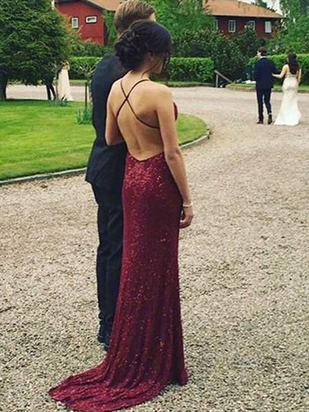 Burgundy Spaghetti Strap V-Neck Backless Sheath Sequin Long Prom Dress