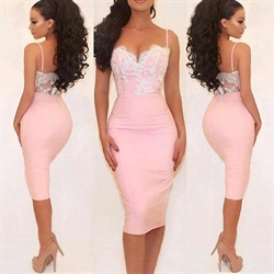 Pink Tea Length Spaghetti Strap Sheath Dress With Lace Embellished Top