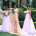 Elegant Off The Shoulder A-Line Lace Embellished Bridesmaid Ball Gown