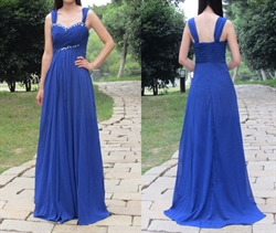 Royal Blue Sleeveless A-Line Long Chiffon Dress With Beaded Neckline