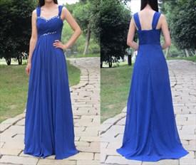 Royal Blue Sleeveless A-Line Long Chiffon Dress With Beaded Neckline