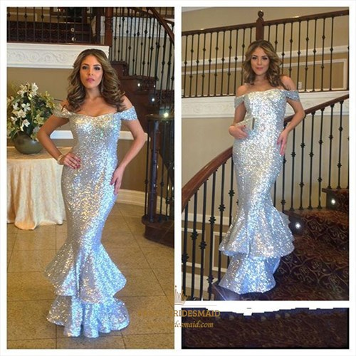 Sparkly Off The Shoulder Silver Sequin Floor-Length Mermaid Prom Dress