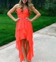 Orange Red Strapless High Low Chiffon Bridesmaid Dress With Ruching