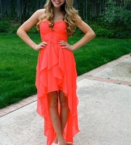 Orange Red Strapless High Low Chiffon Bridesmaid Dress With Ruching