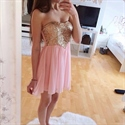 Pink Knee Length Strapless Sequin Embellished Chiffon Bridesmaid Dress
