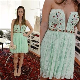 Cute Strapless Beaded Embellished Knee Length Lace Homecoming Dress
