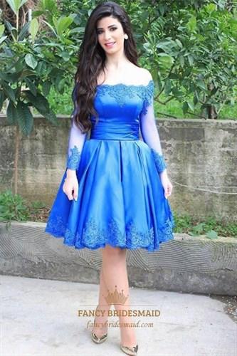 Navy Blue Off The Shoulder Lace Embellished Short Dress With Sleeves