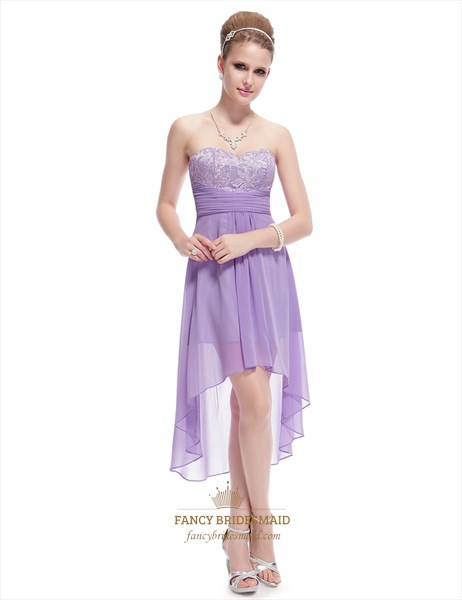 Short Lilac Bridesmaid Dresses Chiffon ,Lilac High Low Prom Dresses