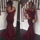 Burgundy Off The Shoulder Lace Beaded Embellished Mermaid Prom Dress