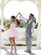 Knee Length Lovely Pink Sleeveless Lace Neckline A-Line Tulle Dress