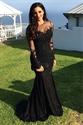 Black Sheer Long Sleeve Floral Applique Sheath Mermaid Evening Dress