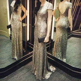 Champagne Backless Simple Short-Sleeve Sequin Mermaid Long Prom Dress