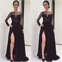 Black Sheer Long Sleeve Floral Applique Chiffon Evening Gown With Slit