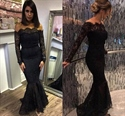 Black Off The Shoulder Long Sleeve Drop Waist Mermaid Lace Prom Dress