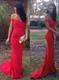 Elegant Red Off Shoulder Floor Length Chiffon Mermaid Evening Dress