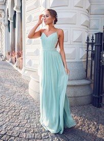 A-Line Spaghetti Strap V-Neck Ruched Chiffon Maxi Dress With Open Back