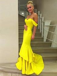 Yellow Elegant Off Shoulder Ruffle Mermaid Floor Length Evening Dress