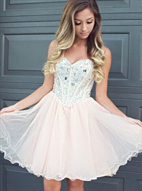 Knee Length Strapless A-Line Tulle Homecoming Dress With Beaded Bodice