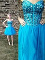 Knee Length Strapless Sweetheart A-Line Tulle Dress With Beaded Bodice