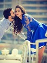 Royal Blue Long Sleeve Lace Applique Embellished A-Line Short Dress