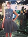 Grey Knee Length A-Line Sleeveless Lace Bodice Tulle Homecoming Dress