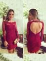 Burgundy Long Sleeve Lace Sheath Homecoming Dress With Keyhole Back