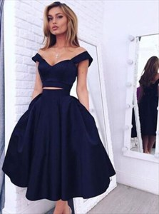 Simple Two Piece Black Sweetheart A-Line Satin Short Homecoming Dress