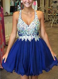 Short V-Neck Royal Blue Sleeveless Beaded Embellished Cocktail Dress