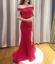 Red Off The Shoulder Floor Length Mermaid Formal Dress With Side Split