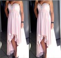Ankle Length Strapless High Low Ruched Chiffon Dress With Beaded Top