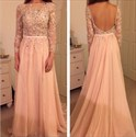 Illusion Long Sleeve Applique Bodice Backless Chiffon Evening Dress