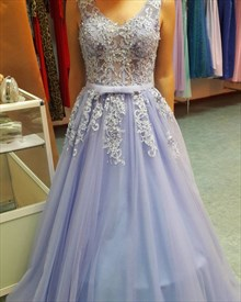 Floor Length Lavender Sleeveless A-Line Backless Applique Prom Dress