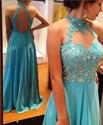Sleeveless Illusion Neckline Lace Bodice Keyhole Back Evening Dress