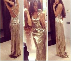 Champagne Sequin Sleeveless V-Neck Floor Length Mermaid Evening Dress