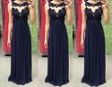 Elegant Navy Blue Sleeveless Lace Neckline A-Line Chiffon Prom Dress
