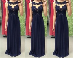 Elegant Navy Blue Sleeveless Lace Neckline A-Line Chiffon Prom Dress