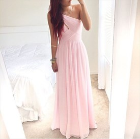 Light Pink One Shoulder Ruched Bodice Floor Length A-Line Chiffon Gown