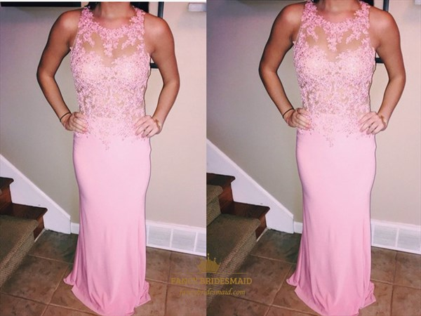 Pink Sleeveless Illusion Lace Bodice Floor Length Mermaid Evening Gown