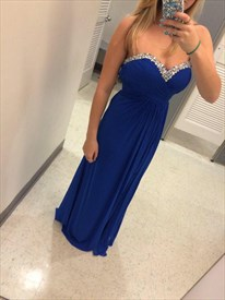 Royal Blue Strapless A-Line Chiffon Bridesmaid Dress With Beaded Top