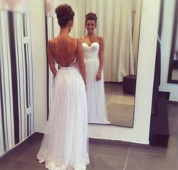 Backless Sweetheart Neckline Spaghetti Strap Lace Bottom Wedding Dress