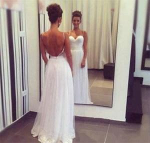 Backless Sweetheart Neckline Spaghetti Strap Lace Bottom Wedding Dress