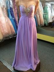 Spaghetti Strap Ruched Bodice Chiffon Prom Dress With Embellishment
