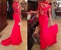 Red Illusion Long Sleeve High Neck Floor Length Mermaid Evening Dress