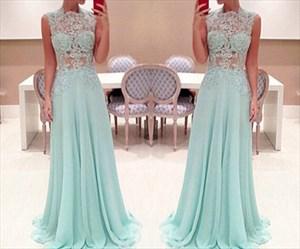 Elegant Illusion Sleeveless Lace Top Chiffon Bottom A-Line Prom Dress